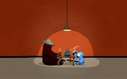 A monkey drinking tea