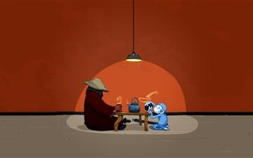 A monkey drinking tea Mac wallpaper