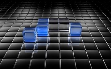 Black and Blue Translucent Cubes Mac wallpaper