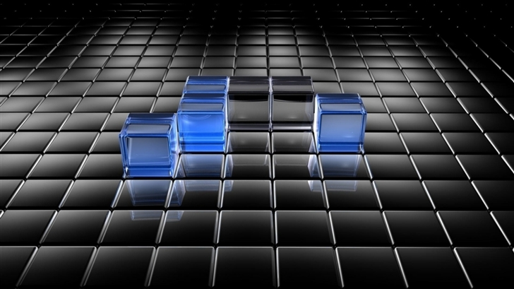 Black and Blue Translucent Cubes Mac Wallpaper