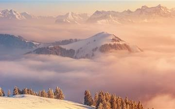 Snowmountain in cloud sea All Mac wallpaper