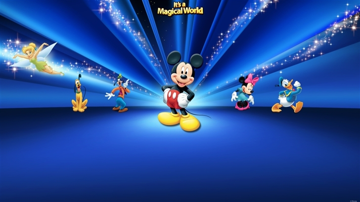 Disney  Characters Dark Blue Mac Wallpaper