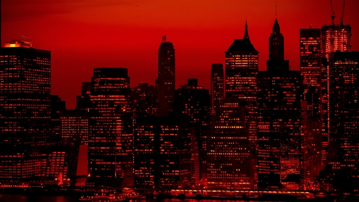 Red Sky At Night New York City Mac Wallpaper