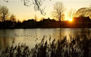 Sunset Hengelo Netherlands Mac wallpaper