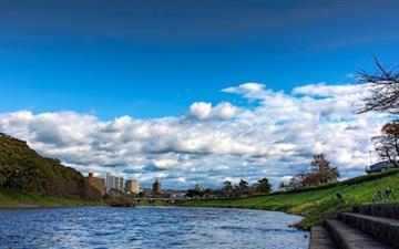 Cloud Cover Over The Oto River  Mac wallpaper