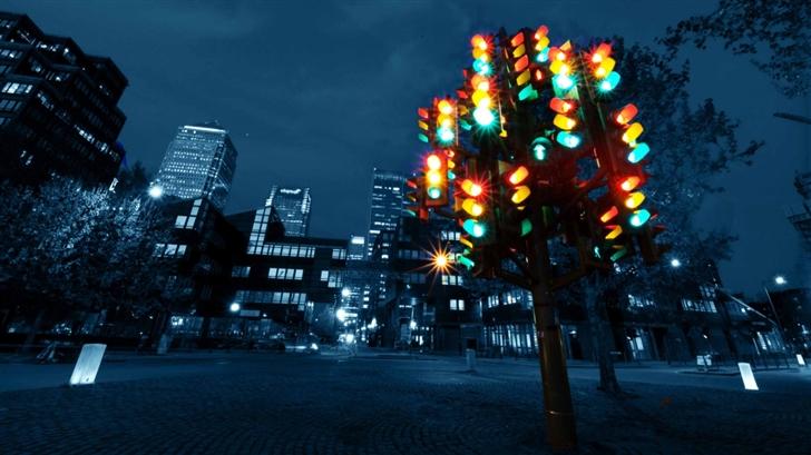 Traffic Light Sculpture Mac Wallpaper