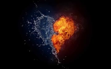 Water And Flames Heart All Mac wallpaper