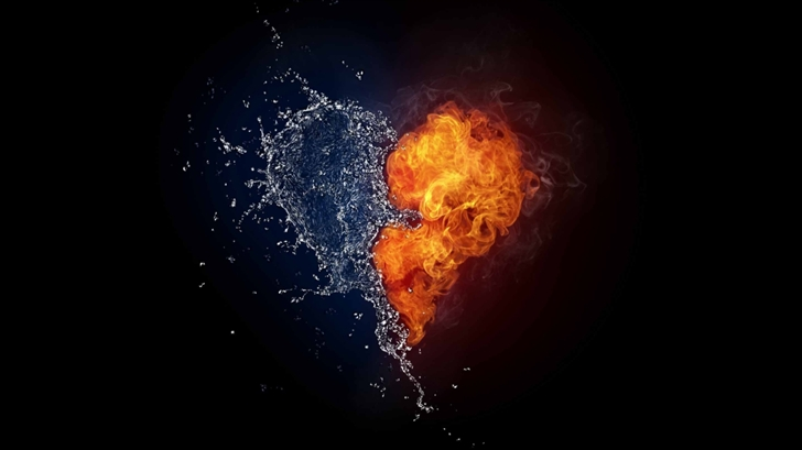 Water And Flames Heart Mac Wallpaper