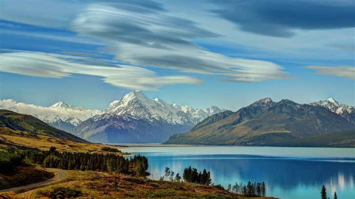 The RoadTo Mount Cook Along Lake  Mac Wallpaper