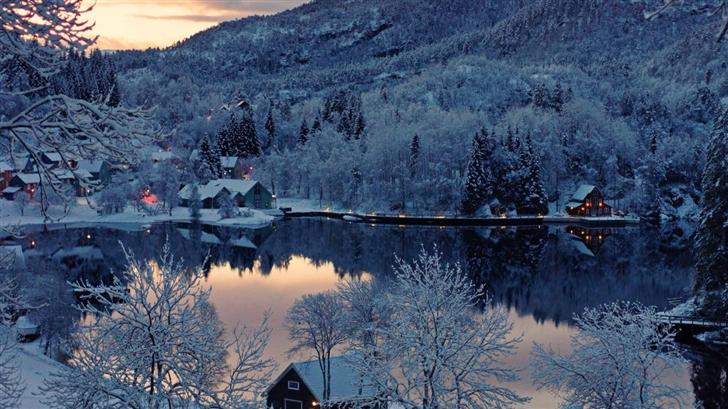 Mountain Resort Winter Mac Wallpaper