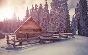 Winter Wooden House Under Snow Mac wallpaper