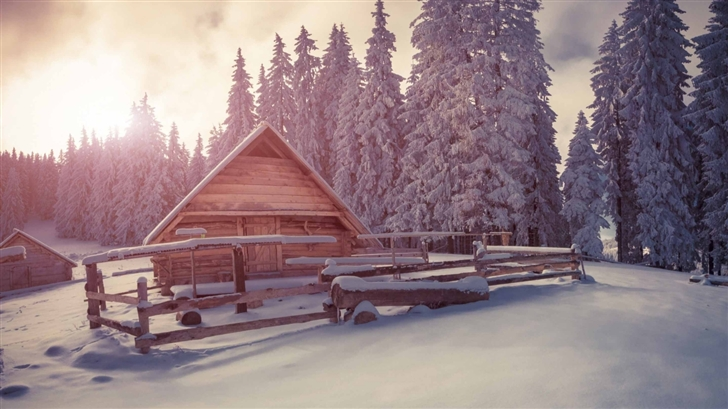 Winter Wooden House Under Snow Mac Wallpaper
