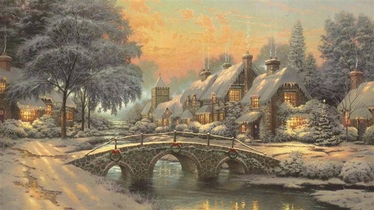 Classic Christmas Painting Mac Wallpaper