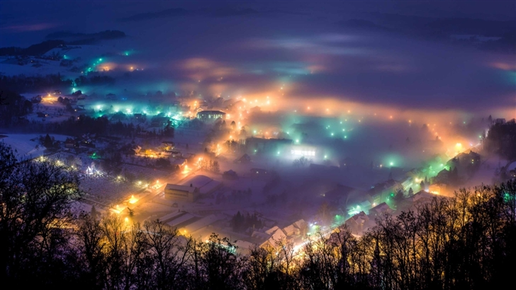 Winter Night In Pregrada Mac Wallpaper
