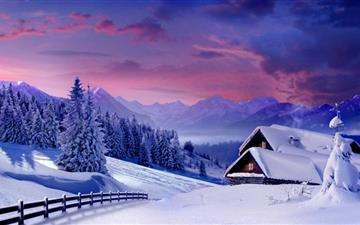 Houses Under Snow  Mac wallpaper