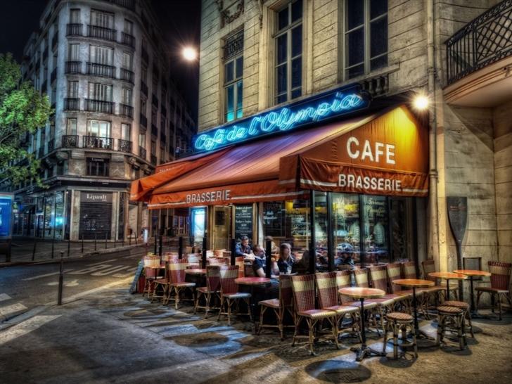 Paris street corner coffee Mac Wallpaper
