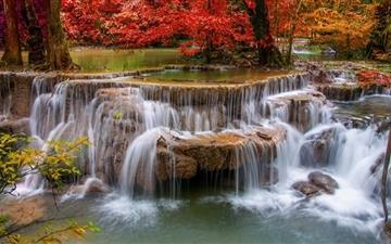 Waterfall Red Trees Mac wallpaper
