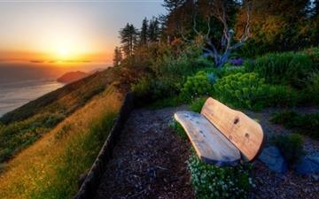 Bench With Sea View Sunset All Mac wallpaper