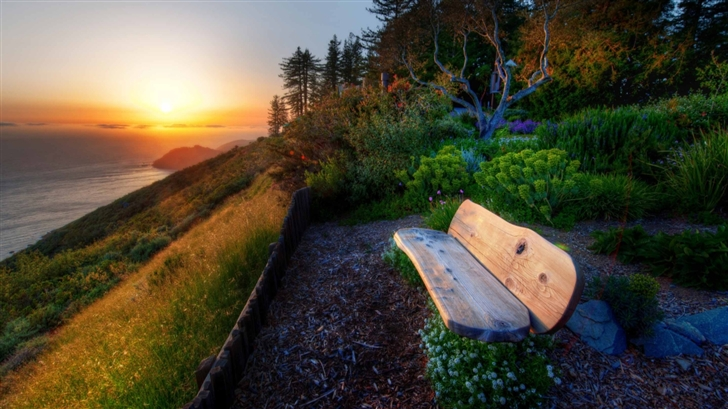 Bench With Sea View Sunset Mac Wallpaper