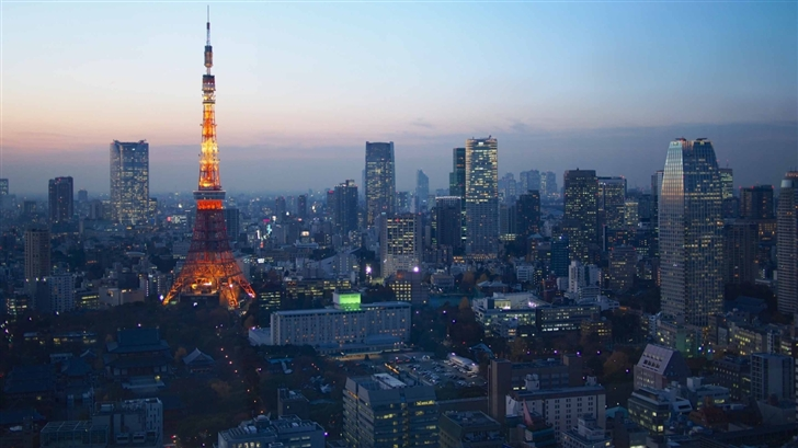 Blue Hour Over Tokyo Mac Wallpaper