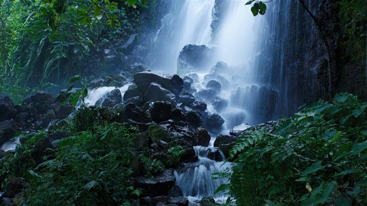Beautiful Forest Waterfall Summer Mac Wallpaper