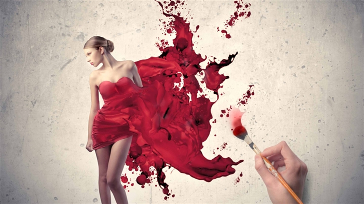 Painting The Woman In Red Mac Wallpaper