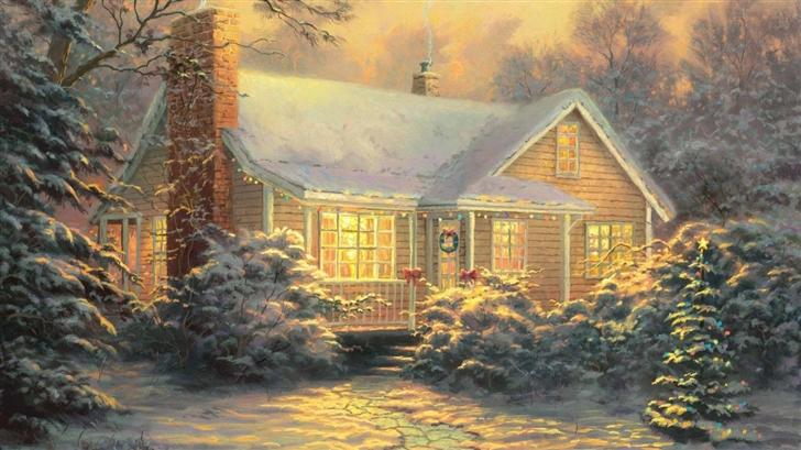 Christmas Cottage By Thomas Kinkade Mac Wallpaper