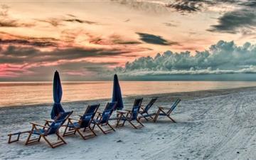 Beach At Sunset Mac wallpaper