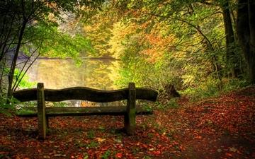 Empty Bench In Fall Scene All Mac wallpaper