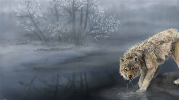 Wolf Drinking Water Painting Mac Wallpaper